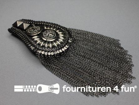 Steampunk schouder epaulet 100x70mm zwart zilver