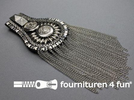 Steampunk schouder epaulet 100x70mm zilver