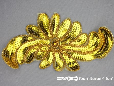 Pailletten applicatie 200x110mm bloem goud