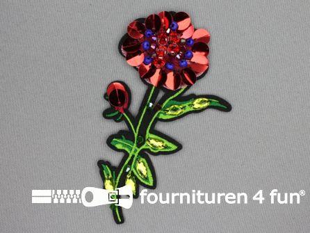 Applicatie met kralen / strass steentjes 125x70mm bloem