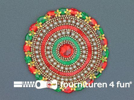 Broche 120mm rood - geel - groen - rode steen