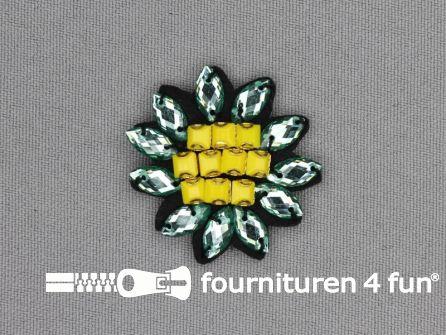 Applicatie met strass steentjes 35x35mm bloem