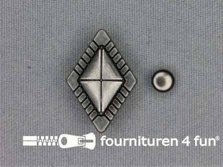 Spikes ruit 17x25mm zwart zilver