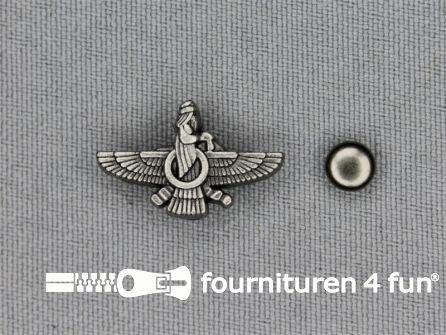 Spikes wings 21x13mm zwart zilver