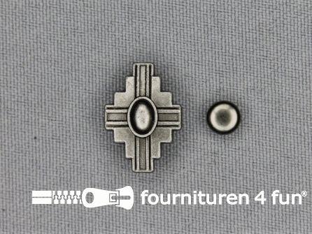 Spikes kruis 18x13mm zwart zilver