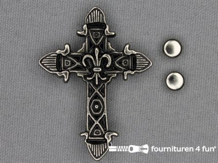 Spikes kruis 50x36mm zwart zilver
