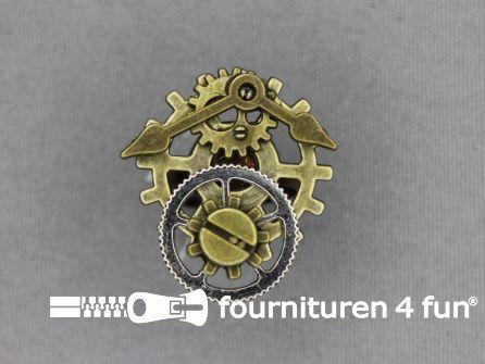 Steampunk ring tandwiel klok zilver brons