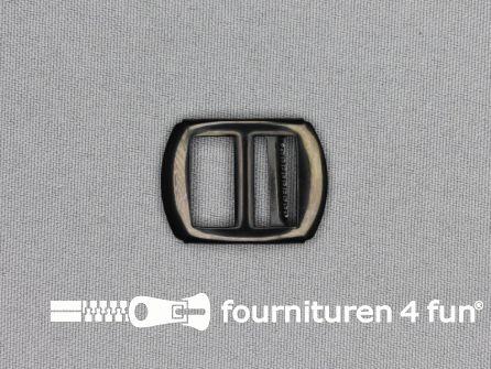 Gilet gesp 16mm zwart zilver