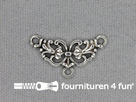 Steampunk hanger 25x13mm bloem zilver
