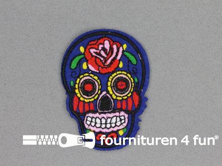 Applicatie 70x50mm Mexican skull blauw