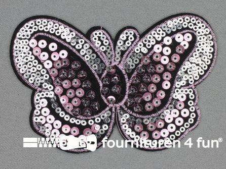 Pailletten applicatie 115x75mm vlinder