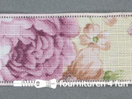 Vintage lint 40mm multicolor roze