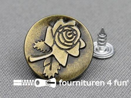 Jeansknopen 20mm roos brons
