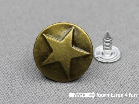 Jeansknopen 17mm ster brons