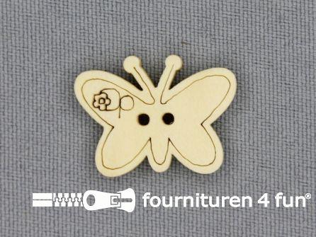 Houten knoop 23x17mm vlinder