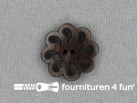 Houten knoop 20mm bloem