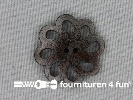 Houten knoop 26mm bloem