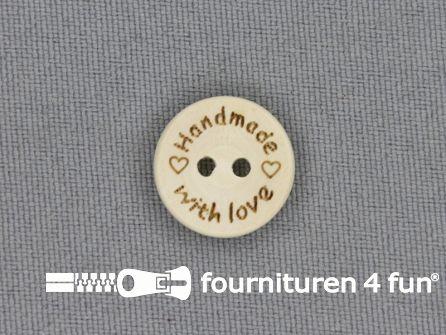 Houten knoop 15mm Handmade With Love