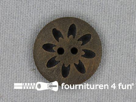 Houten knoop 24mm bloem