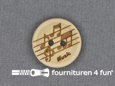 Houten knoop 20mm Music