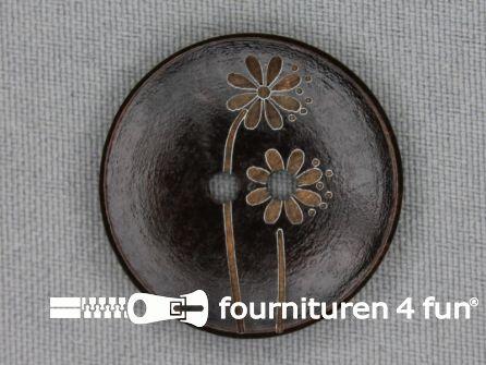 Houten knoop 30mm bloem