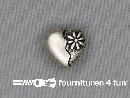 Landhuis knoop 18mm hartje - bloem