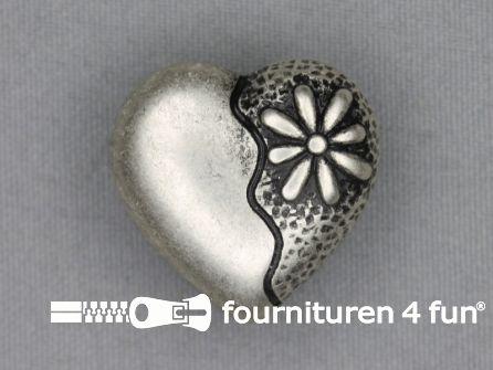 Landhuis knoop 28mm hartje - bloem