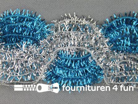 Party band 38mm zilver - aqua blauw
