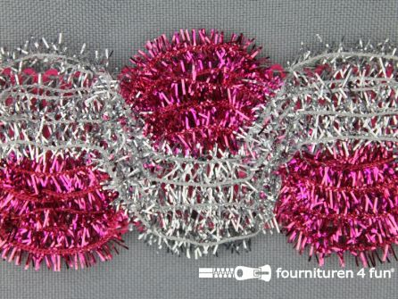 Party band 38mm zilver - fuchsia roze