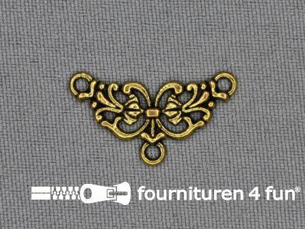 Steampunk hanger 25x13mm bloem goud