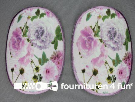 Kniestukken bloemen motief lila roze