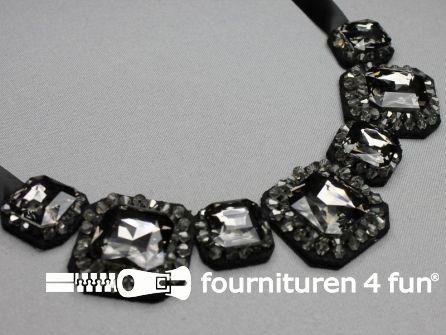 Strass stenen hanger zwart zilver 180x80mm