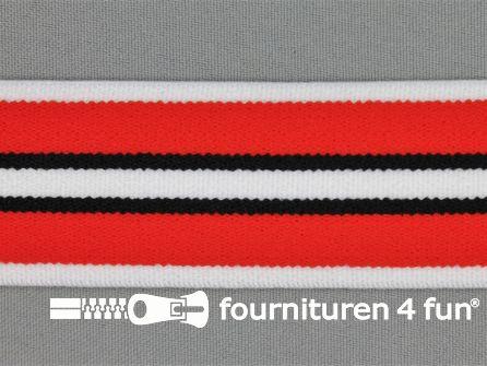 Elastiek gestreept 40mm rood wit zwart
