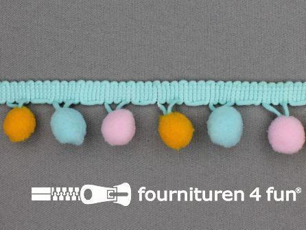 Bolletjesband 30mm multicolor oranje blauw roze