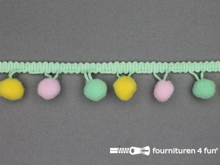 Bolletjesband 30mm multicolor mint groen geel roze