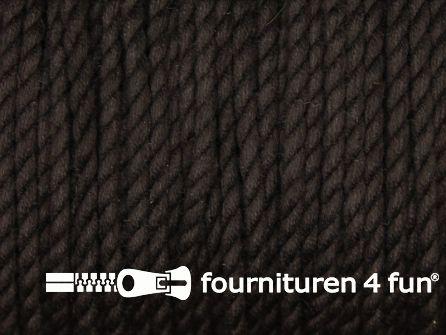 Katoen polyester koord 2,5mm donker bruin