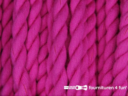 Katoen polyester koord 5mm fuchsia roze