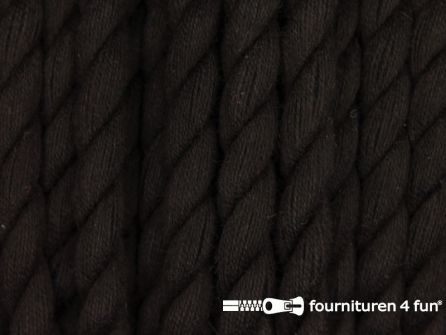 Katoen polyester koord 5mm donker bruin