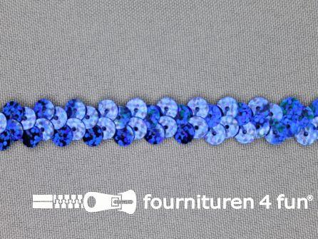 Elastische pailletten band 12mm hologram kobalt blauw