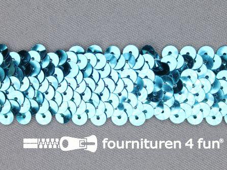 Elastische pailletten band 30mm aqua blauw