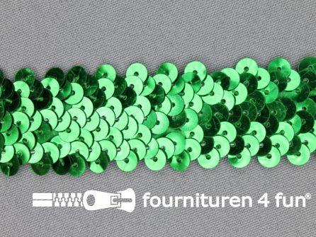 Elastische pailletten band 30mm groen