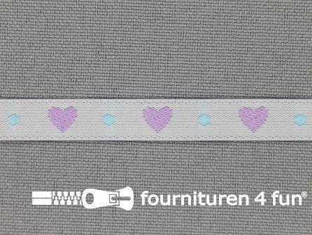 Kinderband 7mm hartjes licht grijs - lila
