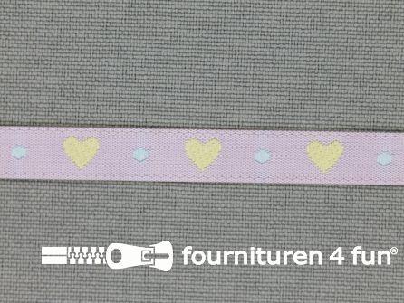 Kinderband 7mm hartjes lila - licht geel
