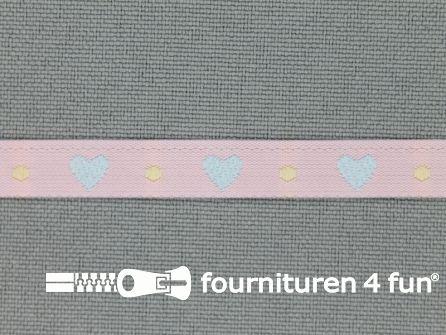 Kinderband 7mm hartjes licht roze - blauw