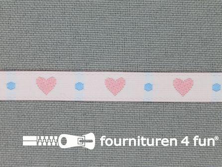Kinderband 7mm hartjes ecru - lila