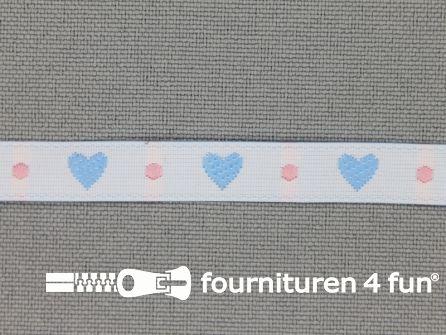 Kinderband 7mm hartjes off white - blauw