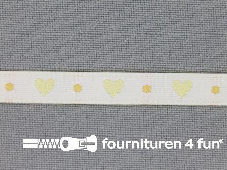 Kinderband 7mm hartjes off white - geel