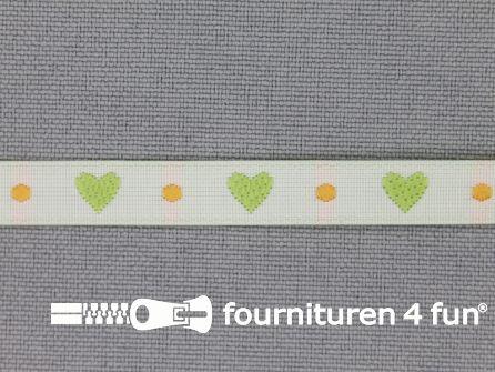 Kinderband 7mm hartjes off white - groen