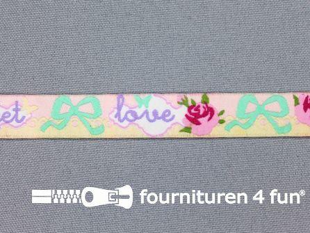 Kinderband 12mm love - sweet - strikjes