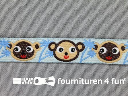 Kinderband 14mm aapjes blauw